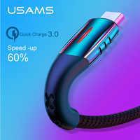 Câble Micro USB USAMS mise hors tension intelligente câble Micro USB 3.0 LED câble QC 3.0 chargeur rapide pour câble Android Xiaomi Huawei Microusb