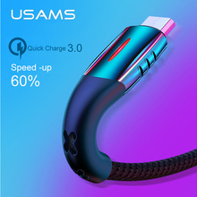 USAMS Micro USB Cable Smart Power off 3.0 LED cable QC fast charger for Android Xiaomi Huawei Microusb
