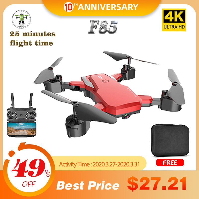 F85 Drone 4K HD Camera WIFI FPV 1080P Dual Camera Follow Me Foldable Quadcopter Red and Black RC Drone Long Battery Life Toy