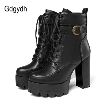 Gdgydh 2020 Russian Hots Sales Women Shoes Thick Platform High Heel Female Ankle Boots Round Toe Lace up Zipper Motorcycle Boots gdgydh spring luxury shoes women boots designer thick heel platform female ankle boots sexy buckle comfortable round toe boots