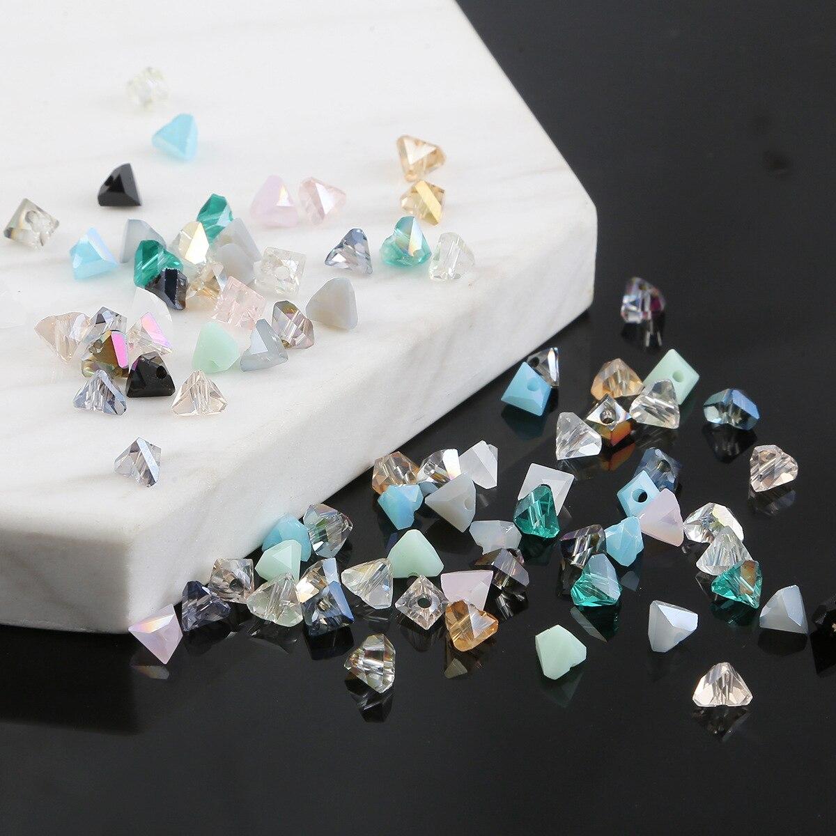 Perles colorées en verre cristal de Styles multiples, pour bricolage de Bracelet, de colliers, de bijoux, de aiguilles, 50 pièces/lot, 5x6mm