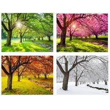 Алмазная 5D картина «сделай сам», картина с полными квадратными/круглыми стразами, Всесезонная, с изображением дерева, леса, весна, лето, Осен...