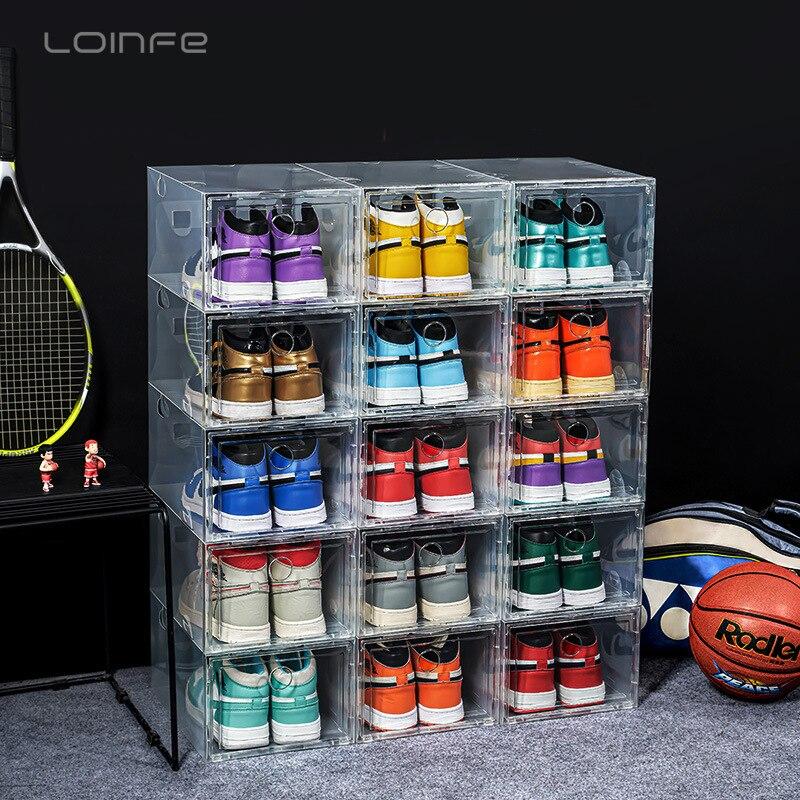 Пластиковая прозрачная коробка для хранения обуви, чехол для кроссовок, утолщенный пыленепроницаемый органайзер для баскетбольной обуви, ...