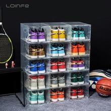 Caixa de sapato de plástico claro tênis caixa de armazenamento engrossado dustproof sapatos de basquete organizador transparente combinação sapato armário