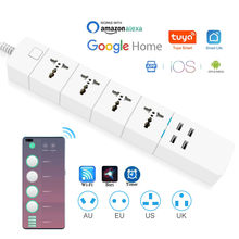 WIFI Smart power strip Universal 1.8/M/3.0M/5.0M with alexa googlehome multi plug 4 AC Socket 4 USB voice contro UK/EU/US/AU