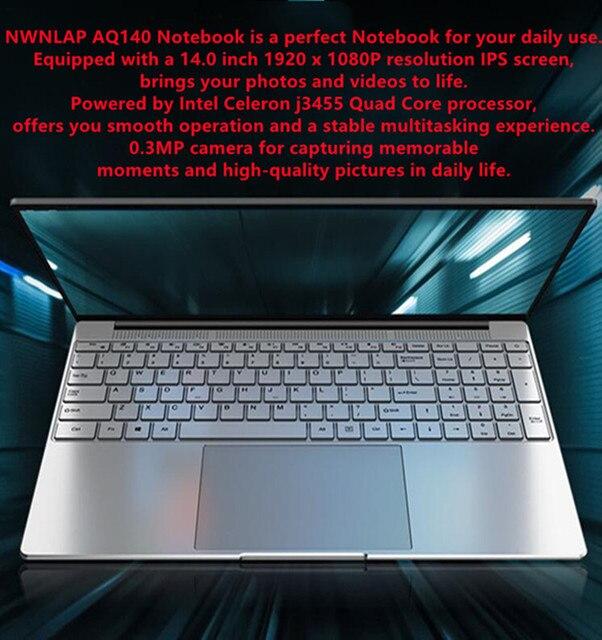 NWNLAP Laptop 14.1 inch Intel J3455 Quad core 8GB 256GB SSD 7mm Thickness 5mm Narrow Bezel Backlit Notebook 3