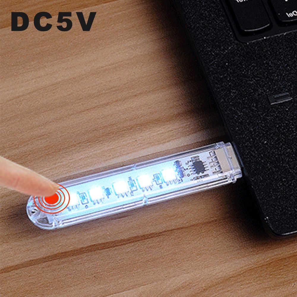 DC5V LED USB Mini lampki nocne 8 diod LED kolorowe lampy tworzące nastrój przełącznik kluczykowy 7 kolorów regulowany na dekoracyjny element oświetleniowy Power Bank