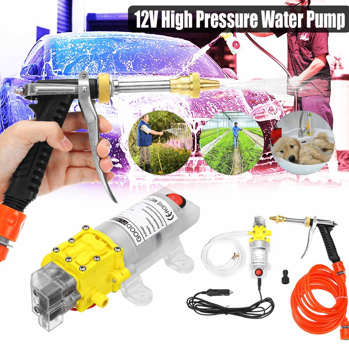 12V High Pressure Diaphragm Self Priming Water Pump 5-7Lpm 120W Water Sprayer Car Wash 12 V Electric Water Pump