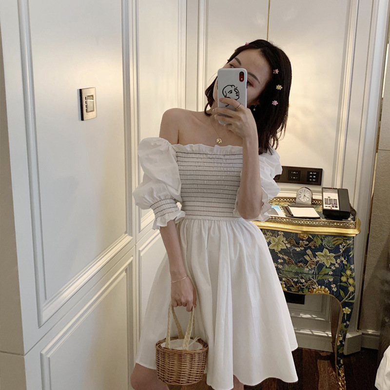 Photo Shoot 2019 WOMEN'S Dress Summer French GIRL'S Fu Gu Qun Yamamoto Palace Puff Sleeve First Love Dress