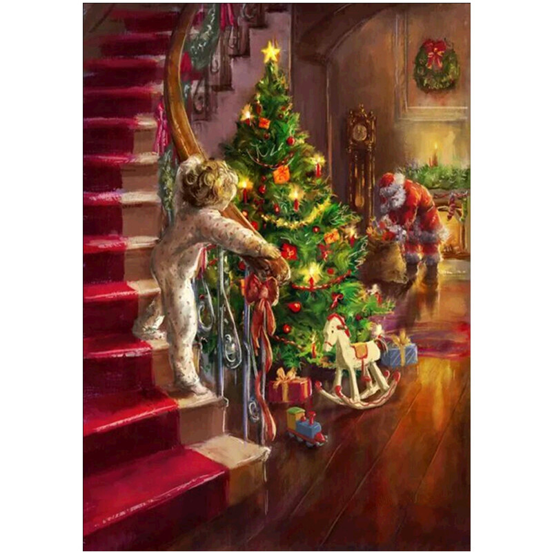 Diamond Embroidery Christmas Tree Old Man DIY Landscape Painting Full Round Gift
