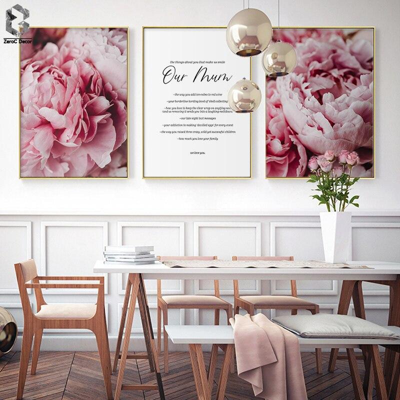 Escandinavo Estilo Rosa Cartazes e Cópias Da Lona Da Flor Da Arte Da Parede Pintura Decoração Nórdico Botânico Imagem Modern Home Decor