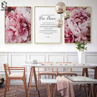 Scandinavian Style Pink Flower Canvas Posters and Prints Wall Art Painting Nordic Decoration Botanical Picture Modern Home Decor