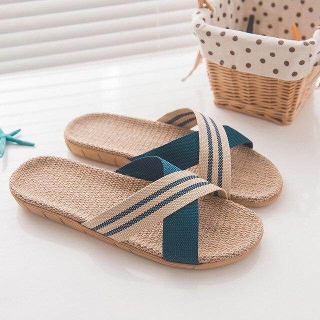 Women Men Fashion  shoes Anti-slip Linen Home Indoor Open Toe Flat Shoes Beach Slippers женская обувь shoes woman men