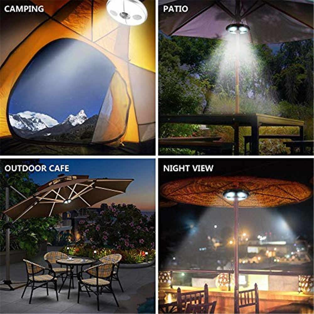 Jadpes Luz de Paraguas Bluetooth Luz de Paraguas Bluetooth Carga Recargable USB 7 L/ámpara de sombrilla LED Colorida con Altavoz Bluetooth para Tienda de Camping al Aire Libre L