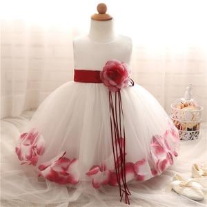 Платье принцессы с цветочным рисунком для маленьких девочек От 1 до 2 лет Вечерние платья на крестины для дня рождения, детское свадебное пла...