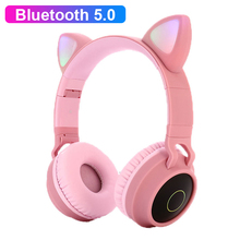 Cute Girl Bluetooth 5.0 Music Headphones Wireless RGB LED Light Cat Ear Stereo Kids Headset Gaming Helmet For Moible Phone Gift