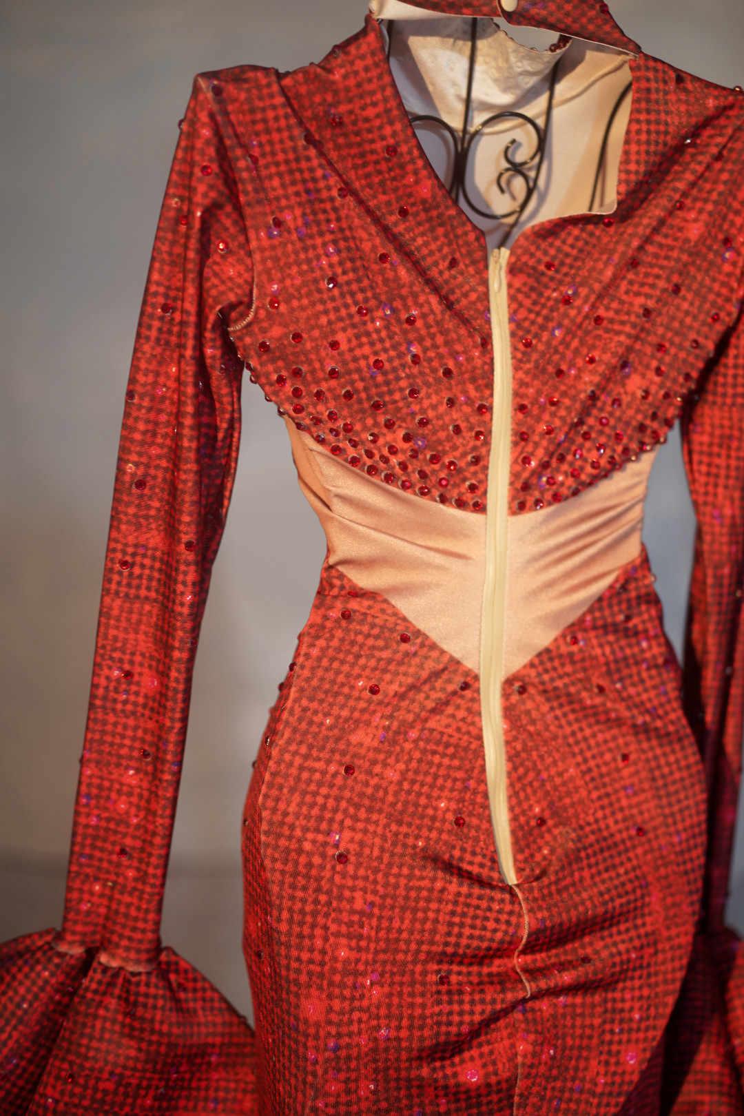 섹시한 붉은 저녁 파티 인어 긴 드레스 여성 스트레치 결혼식 축하 라인 석 드레스 층 길이 가수 후행 드레스