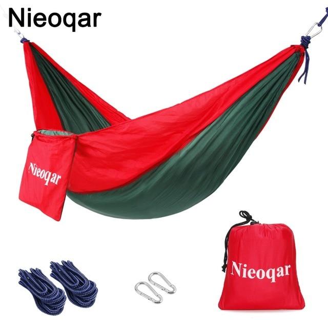 Ultralight 1 2 Persoon Hangmatten Outdoor Camping Reizen Wandelen Slapen Bed Picknick Swing Tent Enkele Tent Rood, groen 230*90 Cm