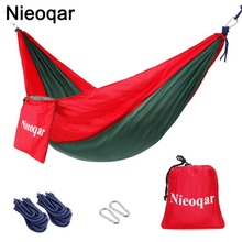 ultralight 1 2 person hammocks outdoor camping traveling hiking sleeping bed picnic swing tent single tent  Red, green 230*90CM
