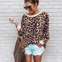 Nice Fashion Oneck Print Leopard T Shirt O Neck Women Tops Jersey Casual Loose T Shirt