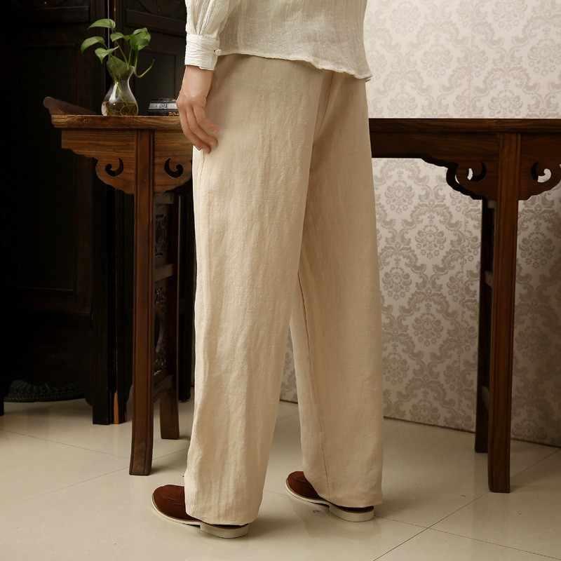 2020 Zomer Herfst Mannen Vintage Broek Linnen Katoen Plus Size 5XL 6XL Volledige Lengte Broek Chinese Stijl Casual Solid Loose broek