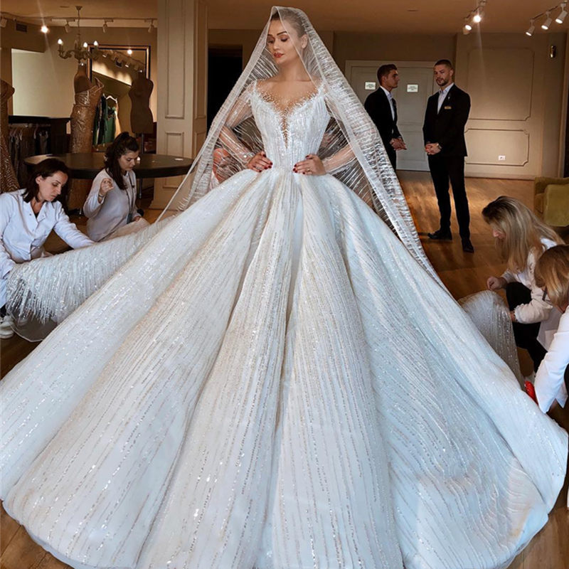 Luxury Beading Dubai Wedding Dress Illusion Long Sleeves Ball Gown Bride Dress Scoop Handmade Wedding Gowns Robe De Mariee