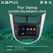 Android 10 do jogador dos multimédios de kapud para hyundai solaris acento verna 2010-2016 gps navegação rádio vídeo carro estéreo 4g áudio bt