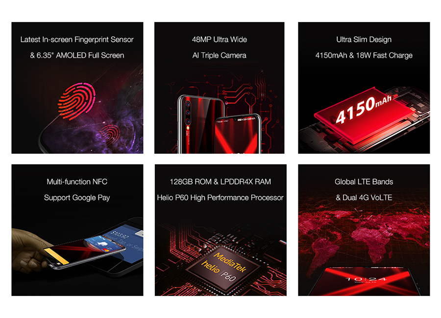 "H260bade43e8140969a1604d94d184818G Global Version UMIDIGI X In-screen Fingerprint 6.35"" AMOLED 48MP Triple Rear Camera 128GB NFC Helio P60 4150mAh Cellphone"