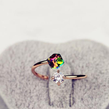 New Arrival Women Rings Rainbow Rose Gold Zircon Open Ladies Fashion Adjustable Jewelries Accessories Trendy Elegant