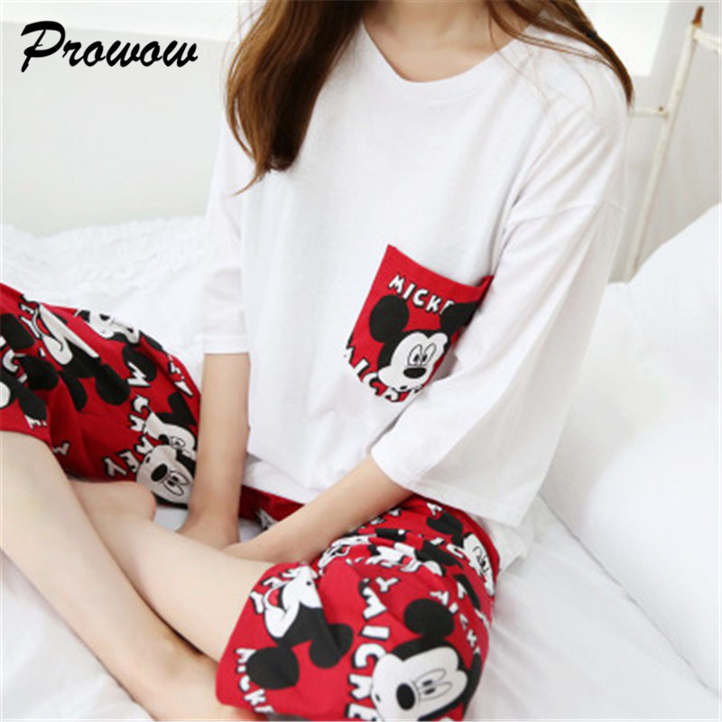 Mickey Women Pajamas Set Cartoon Nightgown Female Home Wear Mickey Pajamas Clothing Set Women Sleepwear Ladies Pajamas Set