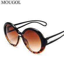 MOUGOL 2019 Luxury Round Sunglasses Women Brand Designer Black Oversized Sun Glasses Female Green Yellow Gradient Lens UV400 цена