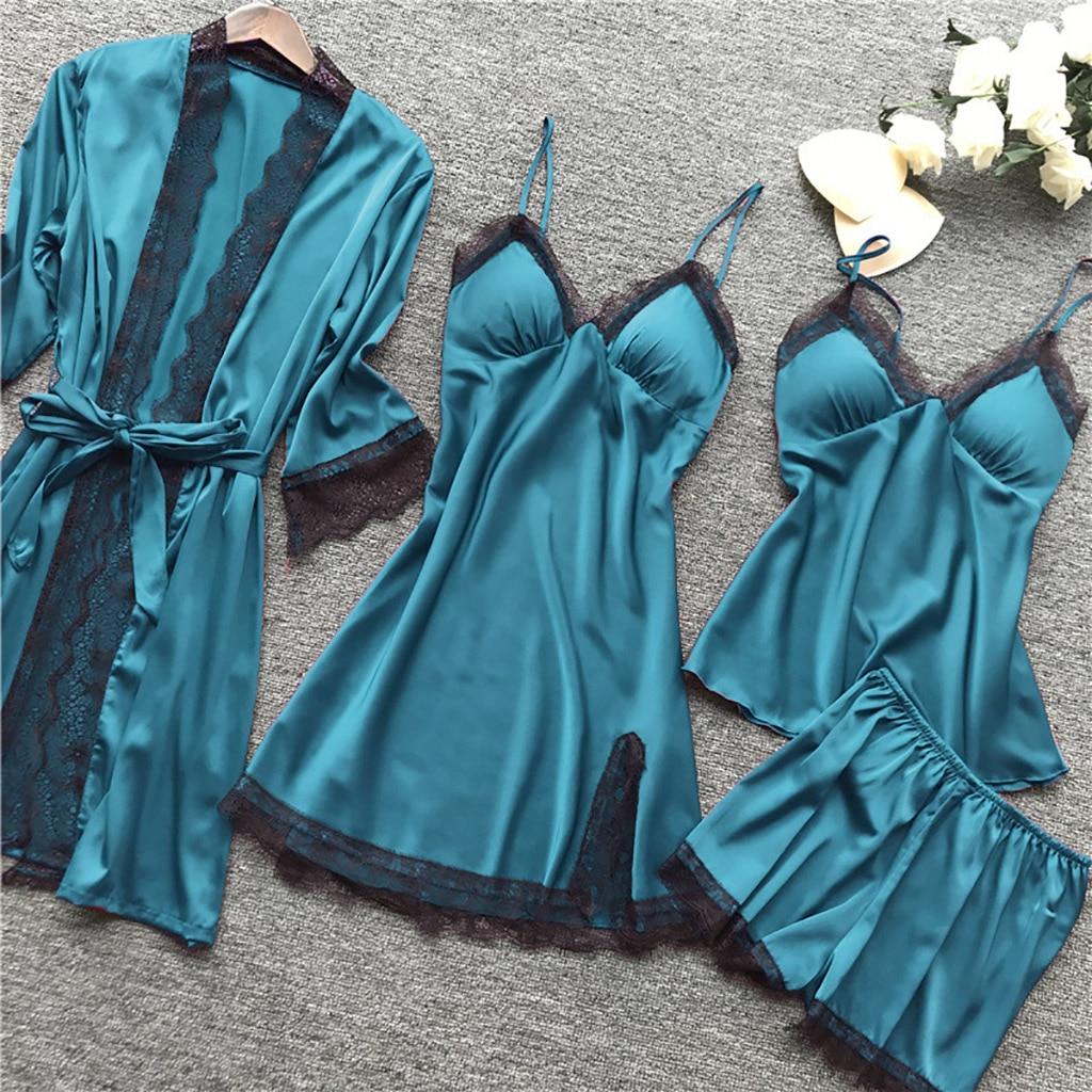 MoneRffi 4 Pcs Women Pajamas Sets Satin Silk Soft Sleepwear Nightwear For Ladies Homewear Spaghetti Strap Lace Pyjama Set 2XL