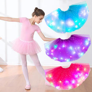 Fluffy Kids Tutu-Skirt Glitter Magic-Light Tulle Stars Ballet Girls Princess Fashion