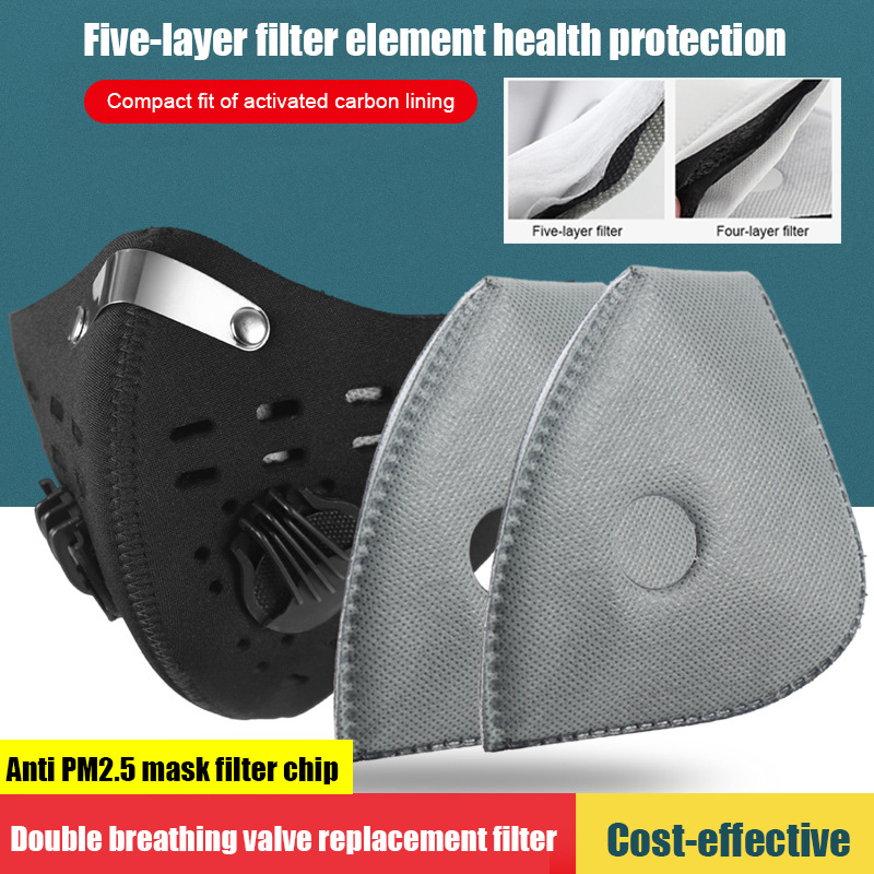 Mask Filter 5 PCS Anti Dust PM2.5 Anti Virus Replacement Dustproof For Mouth Masks Sports Cycling Active Carbon Filters LB