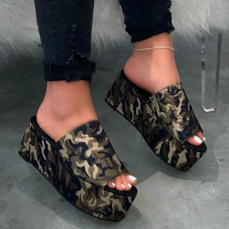 High heeled Women Flatform Slippers Summer New Sexy Leopard Print Thick with Slides Women Large Size