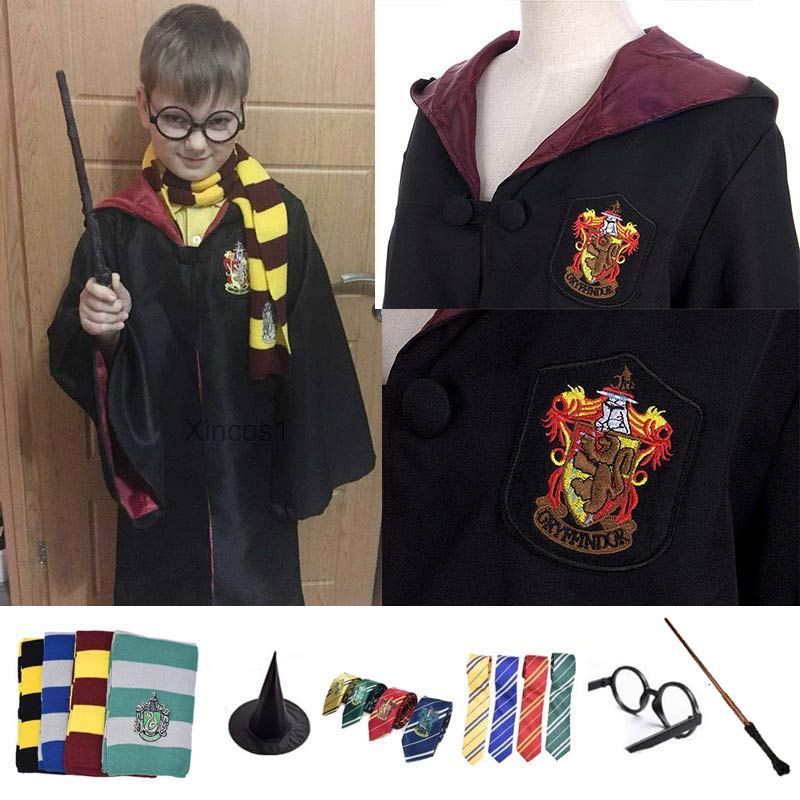 Movie Adult Potter Cosplay Costume Robe Cloak with Tie Scarf Ravenclaw Gryffindor Hochpaqis Litelin Potter Costume Party