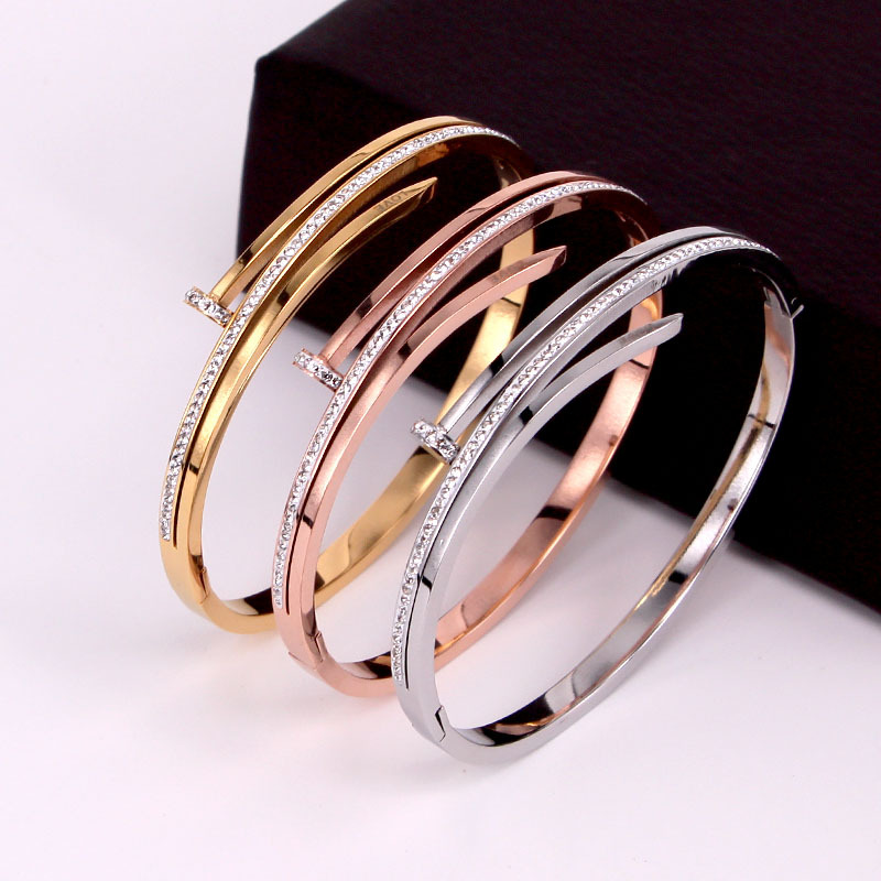 Personality  Women Bracelets Bangle For Women Hollow Three-layer Nail Full Cubic Zirconia Trendy Female Stainless Steel Jewelry