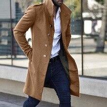 2020 abrigo largo Vintage para hombre otoño Color sólido Rtro largo gabardina chaqueta para hombre de un solo pecho Casual de negocios