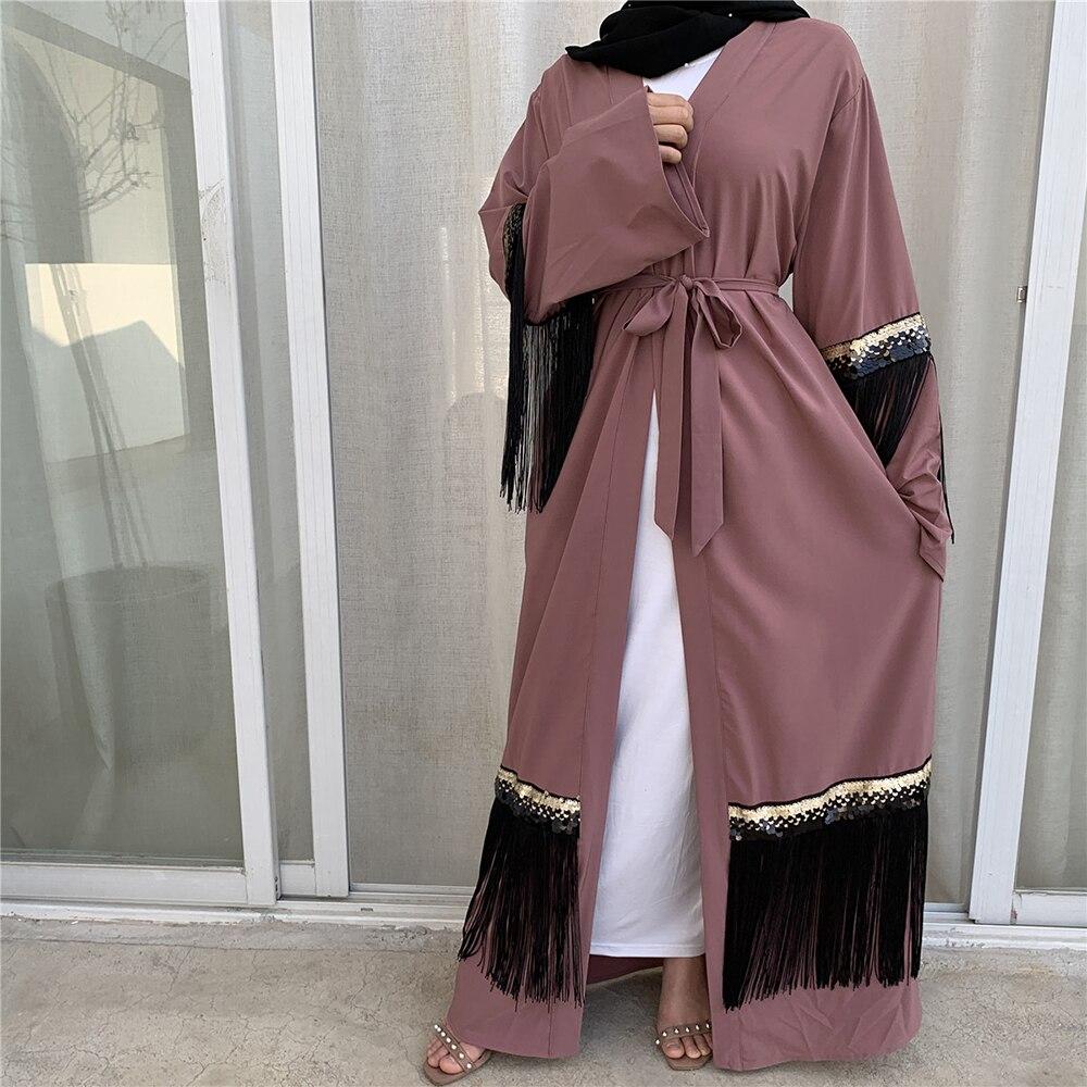 Abaya kimono hijab muçulmano vestido feminino kaftan