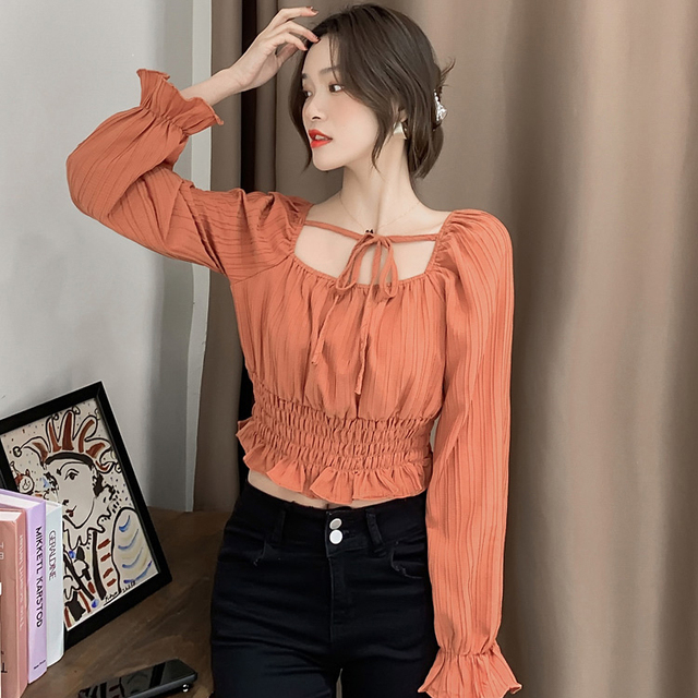 Temperament Square Collar Blouses Women 2021 Spring New Style Short Chiffon Plus Size Shirts Sweet Solid Color Long Sleeve Tops 3