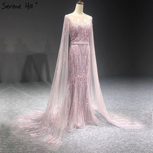 Image 4 - Dubai Pink Luxury Long Sleeves Evening Gowns 2020 Mermaid Sequins Beading Sexy Fromal Dresses Serene Hill LA70160