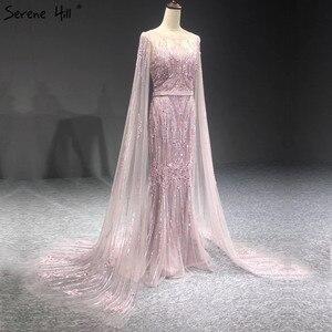 Image 4 - Dubai pembe lüks uzun kollu abiye giyim 2020 Mermaid Sequins boncuk seksi resmi elbiseler Serene tepe LA70160