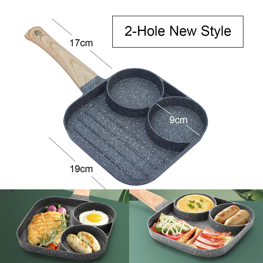 4-Hole 2-Hole Frying Pot Pan Thickened Omelet Pan Non-stick Pancake Steak Cooking Egg Ham Pans Breakfast Maker Cookware 1