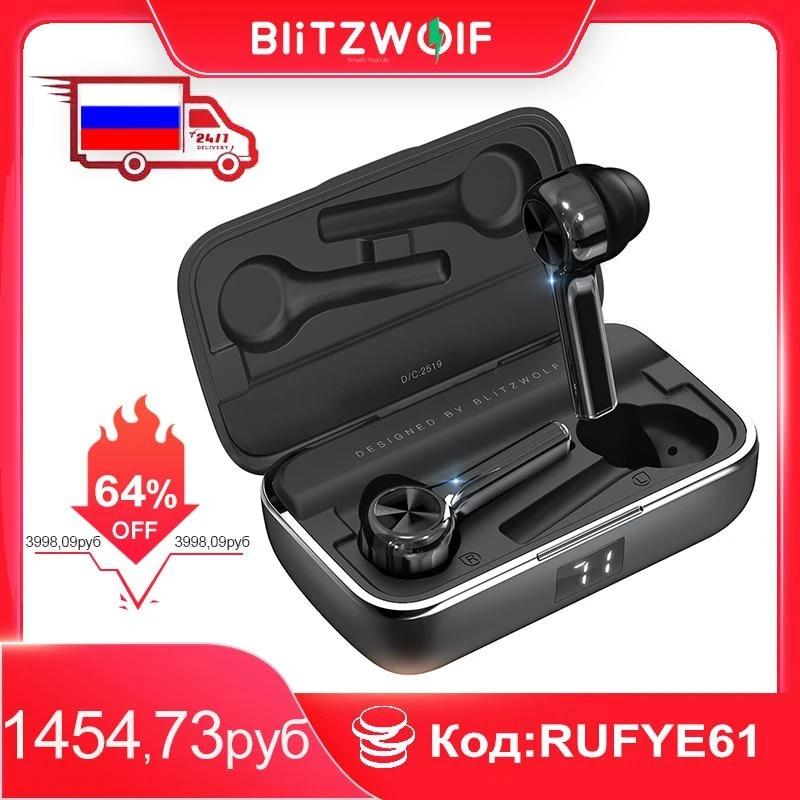 BlitzWolf FYE6 Long Handle bluetooth 5.0 TWS True Wireless Earphone Graphene Digital Display Bilateral Call  Headset