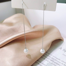 Exquisite Real 925 Sterling Silver Tassel Drop Earrings Charming Jewelry Pearl Shine Snake Chain Lasting Good-looking Slender exquisite real 925 sterling silver charming bee pendant necklaces lasting shine cross chain and zirconia good looking daisy