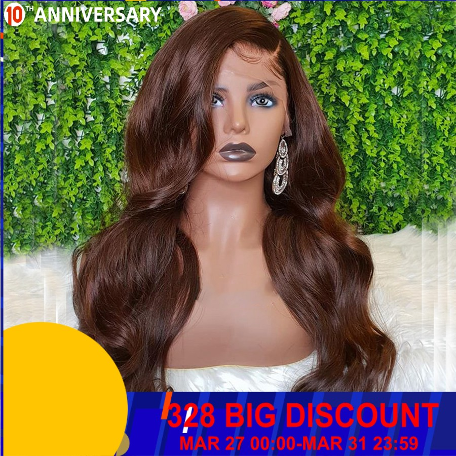 Brazilian Human Hair 13X6 Lace Front Wigs Chocolate Brown Hair Color Body Wave Remy Hair Lace Front Wigs For Women 150Density