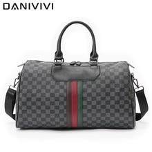 Men's Gym Bag Leather Handbags for Men Waterproof Large Business Travel Duffle Bag Luxury Plaid Designer Luggage Overnight Bag
