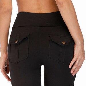 Image 5 - Nessaj High Waist Fitness Leggings Women Pocket Leggings Solid Color Push Up Legging Women Clothing Polyester Leggings