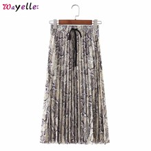 Women Stylish Snake Long Skirt Print Pleated Drawstring Faldas Mujer Moda 2019 Tie Elastic Waist Ladies Casual Mid Calf Skirts drawstring waist pleated skirt