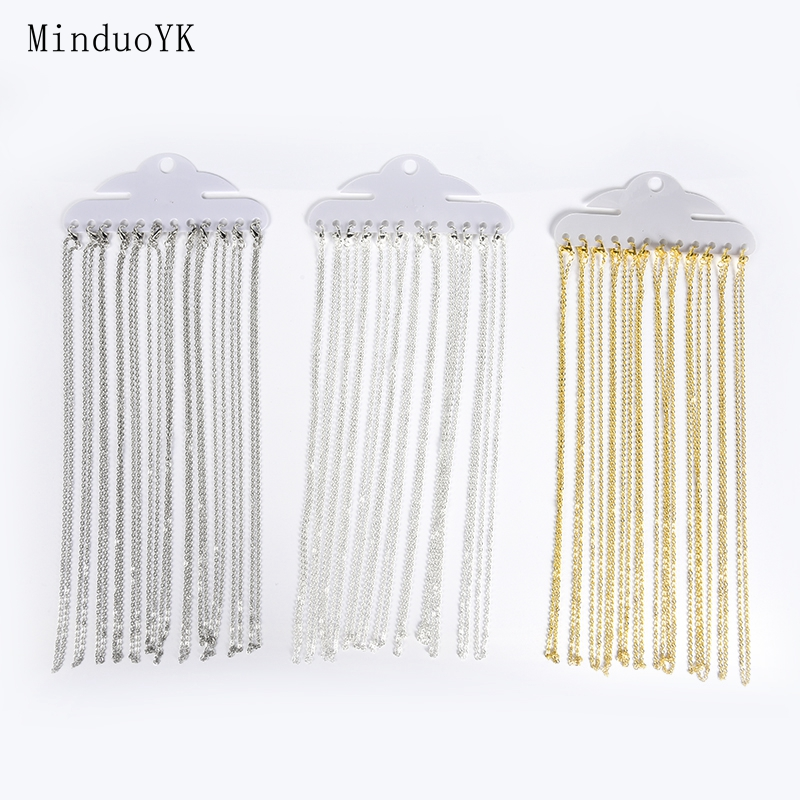 12Pcs/Lot Gold Silver Color 40cm Flat Cross O-Chains For Women Simple Necklace Jewelry